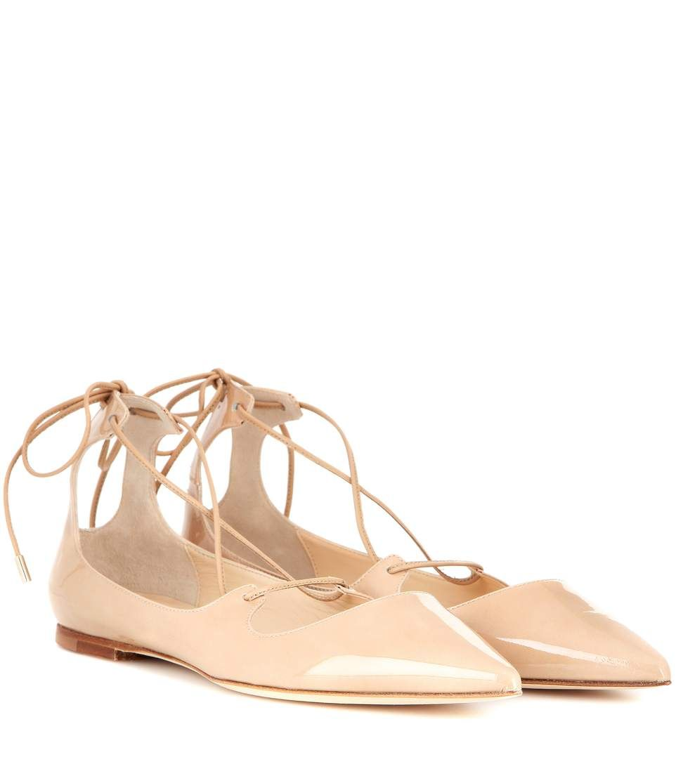 f4a049d4e84b JIMMY CHOO Vita Patent Leather Lace-Up Ballerinas.  jimmychoo  shoes  flats