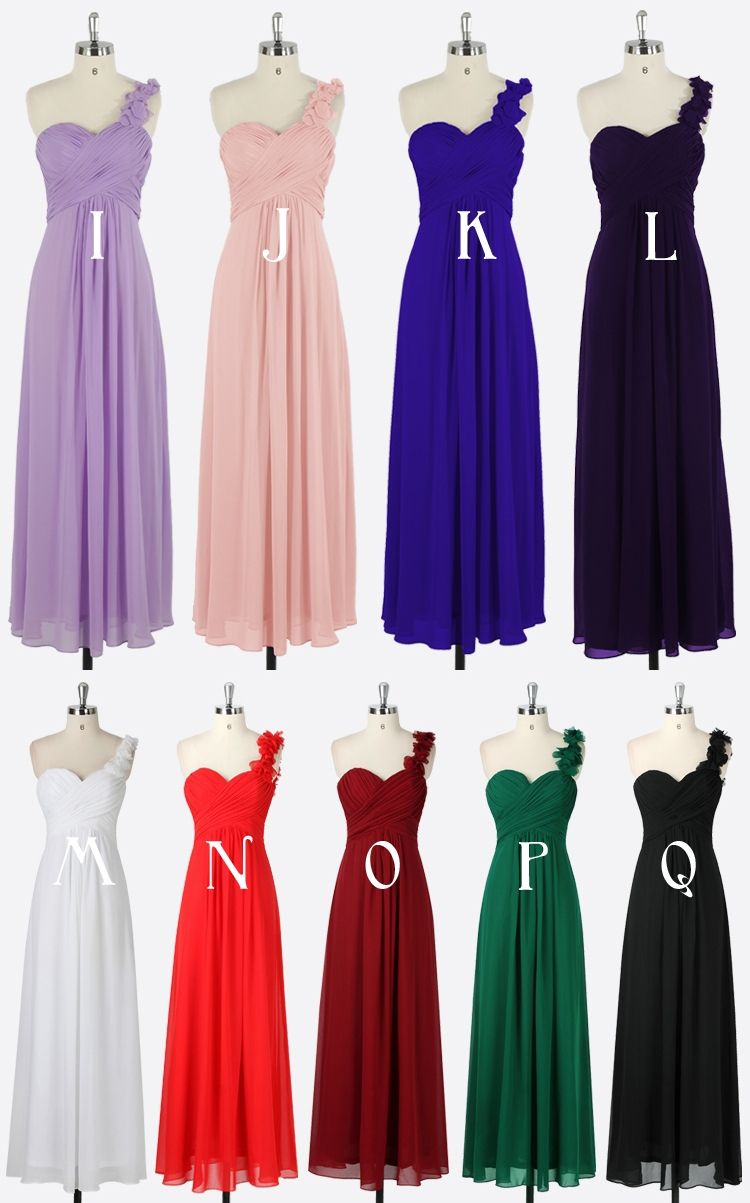Long bridesmaid chiffon dresses gown lavender purple pink white