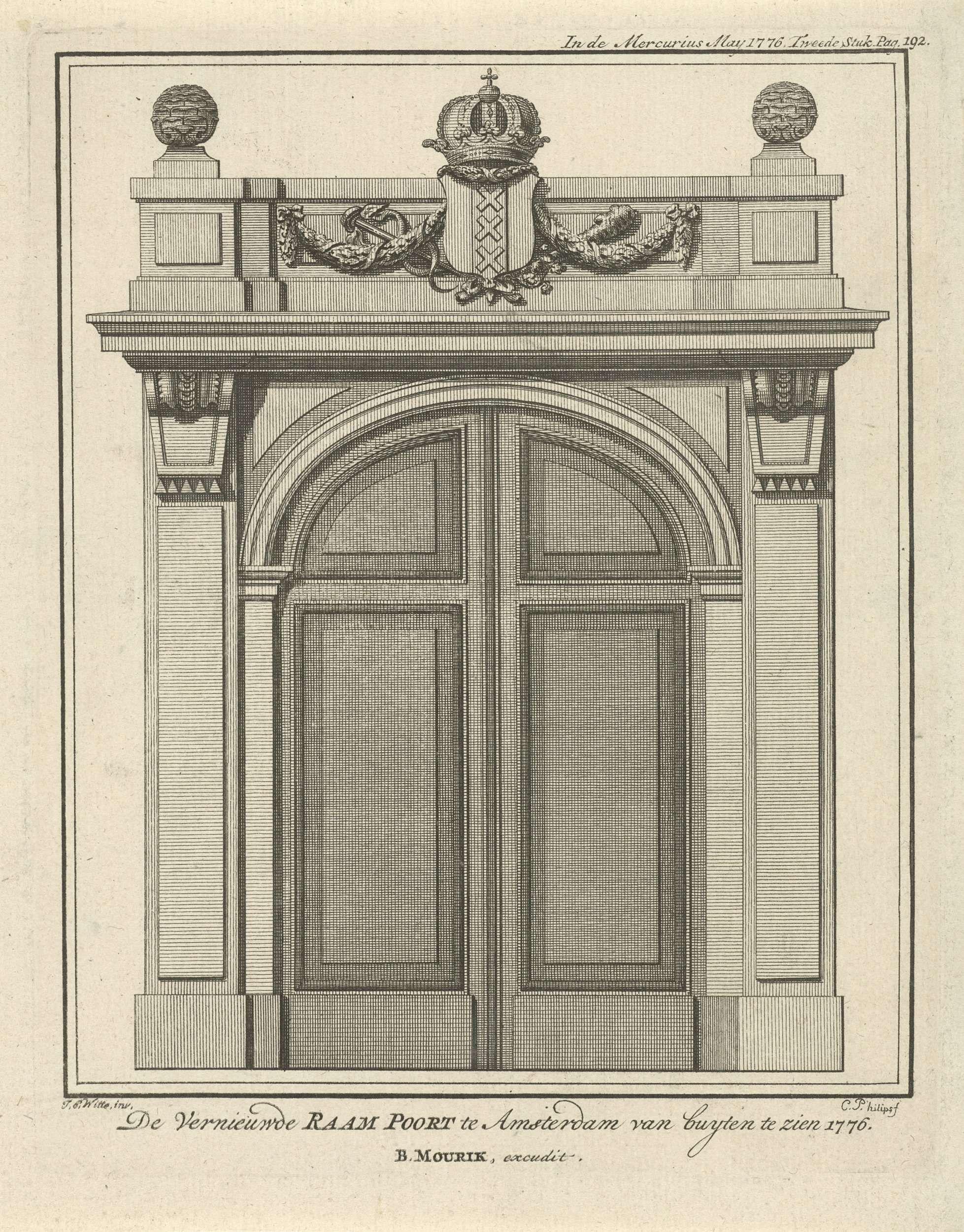De vernieuwde Raampoort te Amsterdam, Caspar Jacobsz. Philips, Bernardus Mourik, 1776