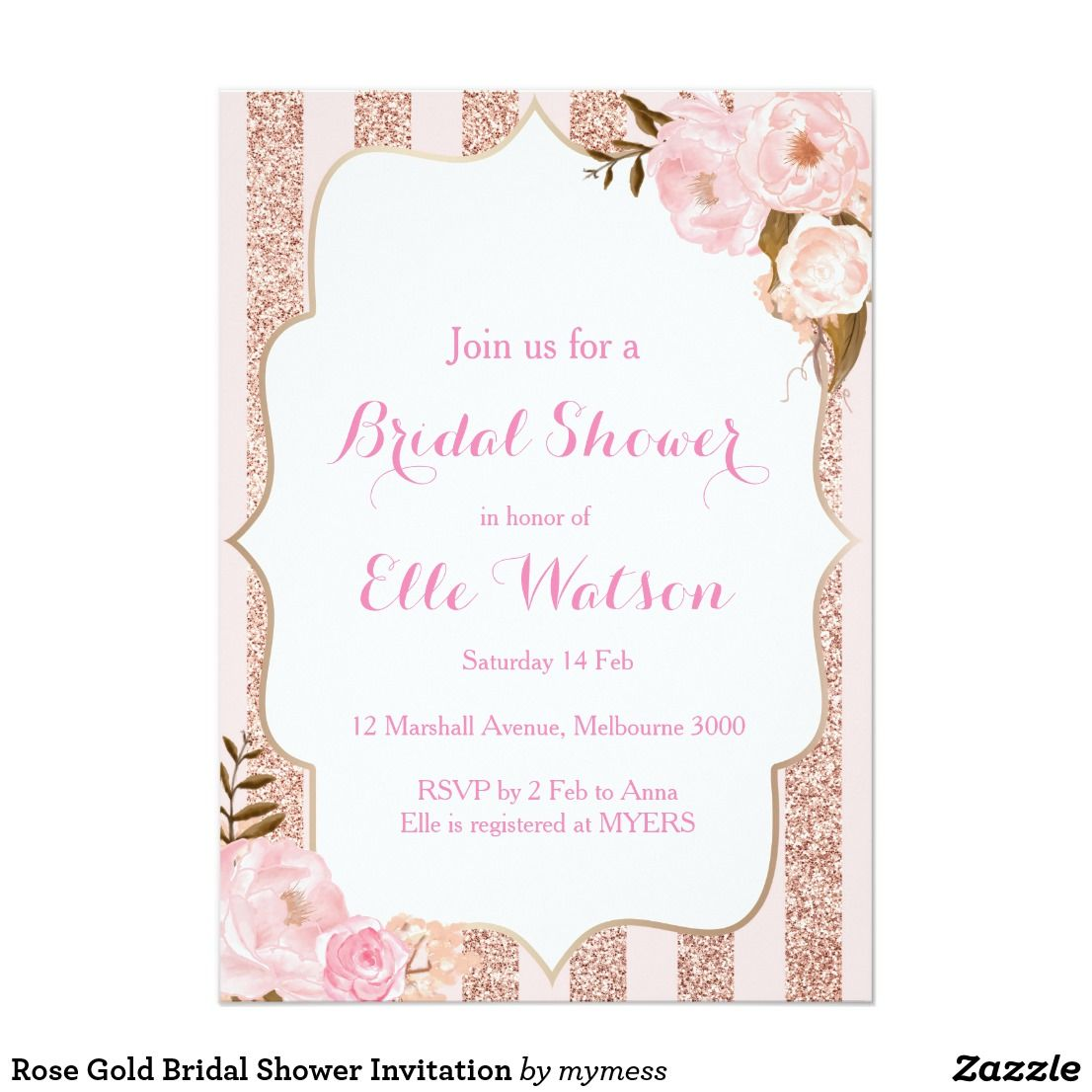 36dc0f3679b BRIDAL SHOWER Romantic Rose Gold Floral Flowers Chic Pretty Personalized Bridal  Shower Invites Announcements Invitation Card  bridalshower