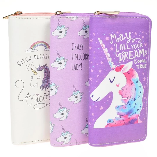 Zipper Wallets For Women With Phone PU Cartoon Unicorn Clutch Purses Smallintothea #walletsforwomen