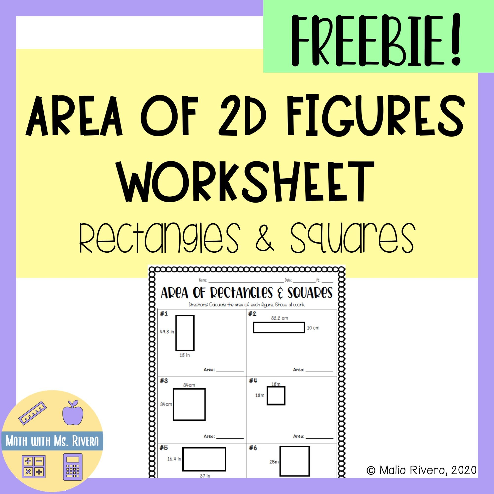 Area Of Rectangles Amp Squares Worksheet