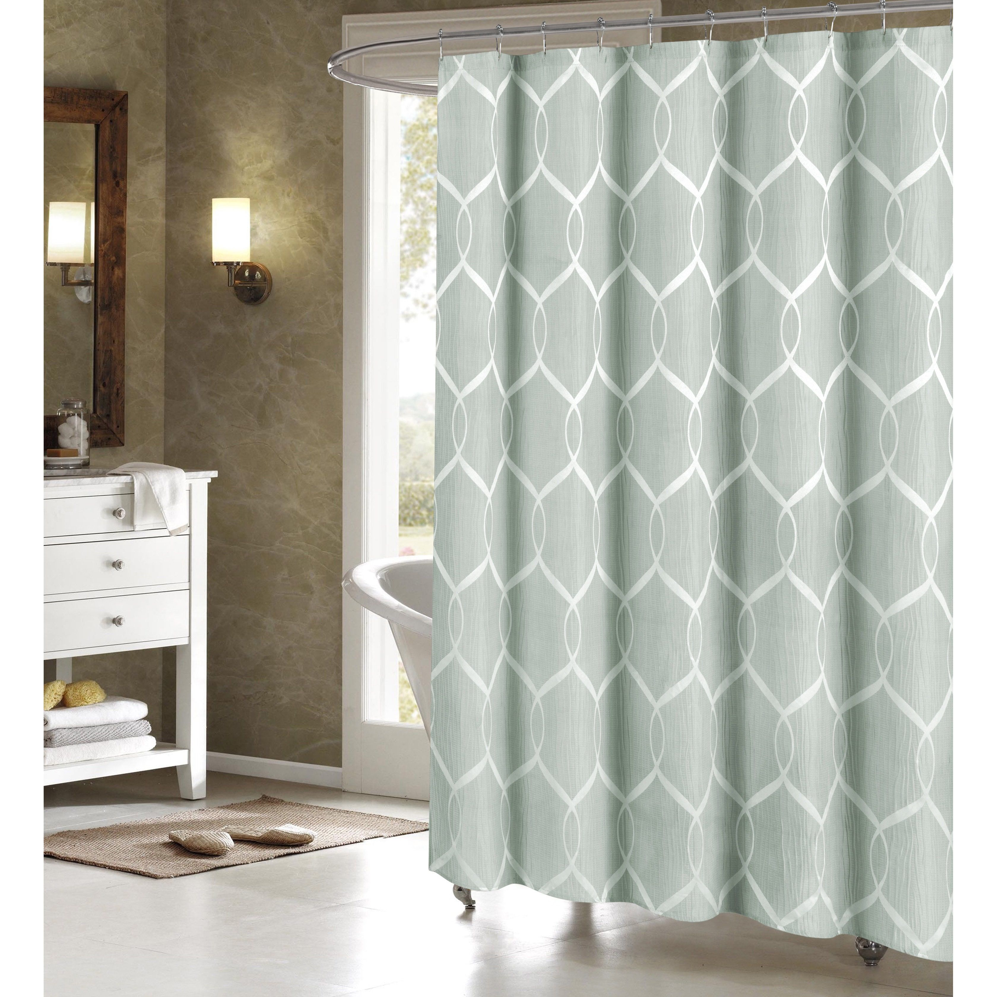 Quey Wrinkle Wave Fabric Shower Curtain | Overstock.com Shopping   The Best  Deals On