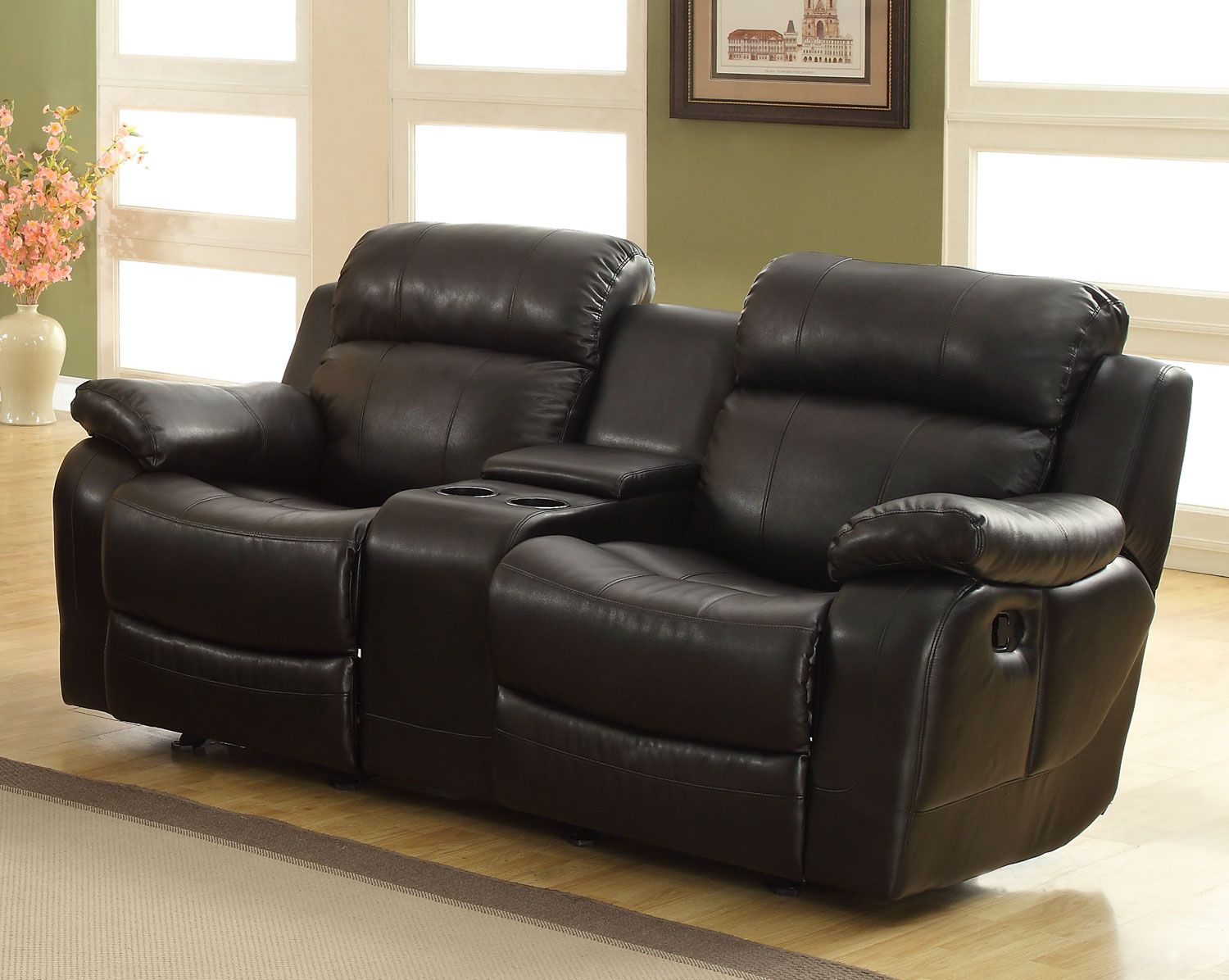 Homelegance Marille Love Seat Glider Recliner with Center Console - Black - Bonded Leather Match : 2 seater recliner leather sofa - islam-shia.org