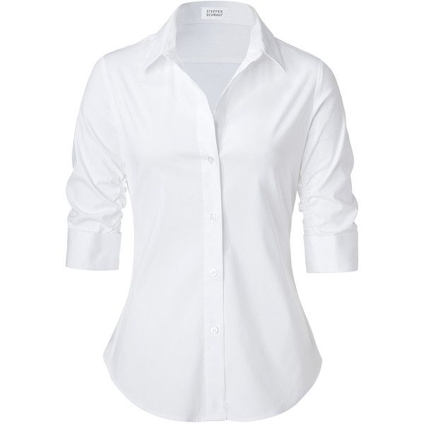 STEFFEN SCHRAUT White Valencia Fancy Blouse (205 CAD) ❤ liked on Polyvore featuring tops, blouses, shirts, blusas, slim-fit shirt, button down collar shirts, white button up blouse, white collar shirt and white collared blouse