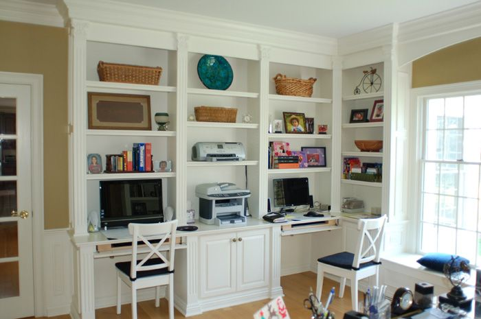 Wall Of Bookshelves And Desk | BC328: Custom