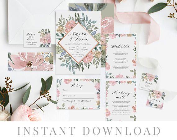 Dusty Pink Wedding Invitation Set Printable Wedding Invitations Neutral Floral Dusty Pink Wedding Invitations Wedding Invitations Blue Wedding Invitations