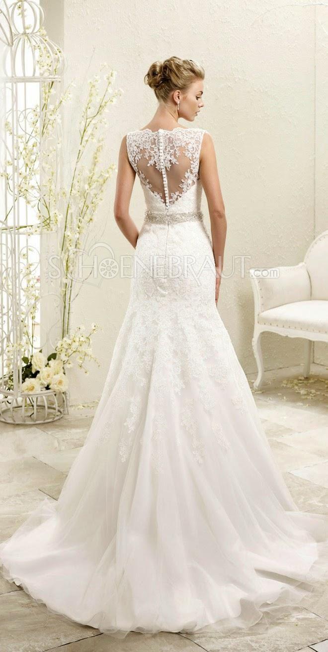 Meerjungfrau Ärmelos Hochzeitskleider mit Spitze Lace Rücken Spitze ...