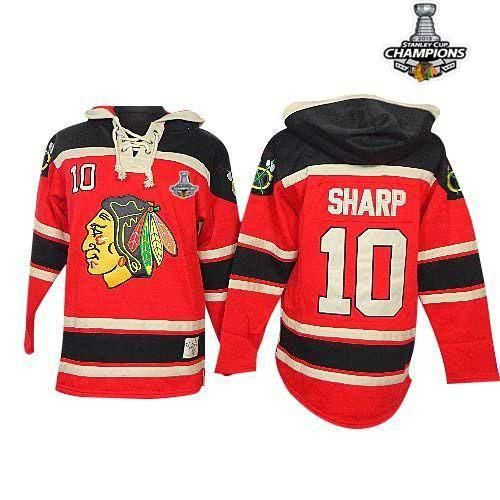 953f0659423 ... Blackhawks 10 Patrick Sharp Red Sawyer Hooded Sweatshirt Embroidered  Stanley Cup Champions NHL Jersey ...