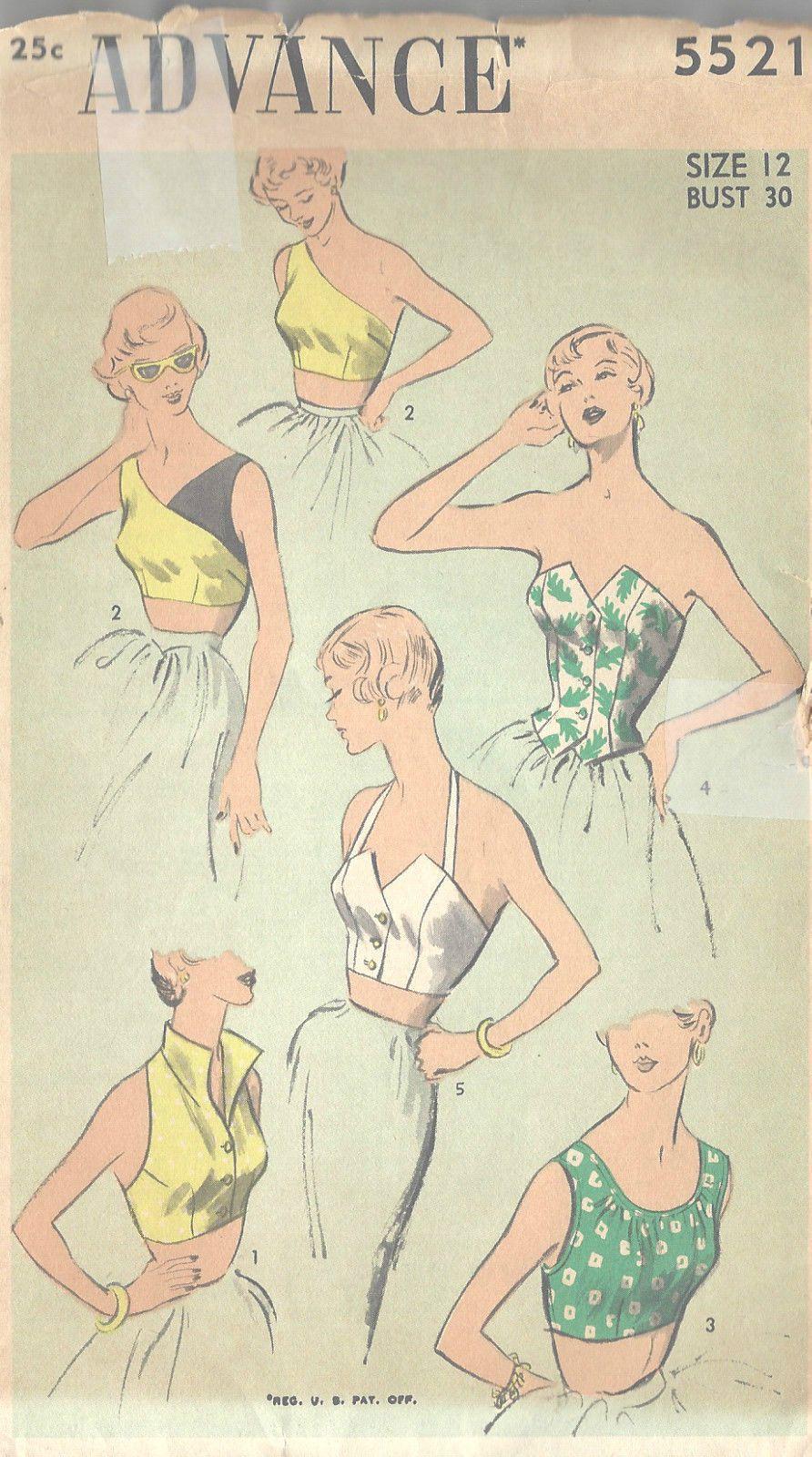 1950s Vintage Sewing Pattern B30 Tops R855   eBay