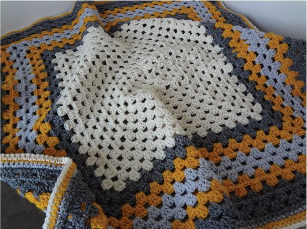 Granny Square Baby Afghan Crochet Baby Blanket Deep Mustard Yellow Charcoal Grey Silver And Cream Via Etsy Crochet Crochet Baby Crochet Afghan