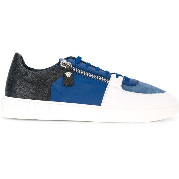 eb35737ea1d3 Versace contrast colour zip sneakers ( 564) ❤ liked on Polyvore featuring  men s fashion