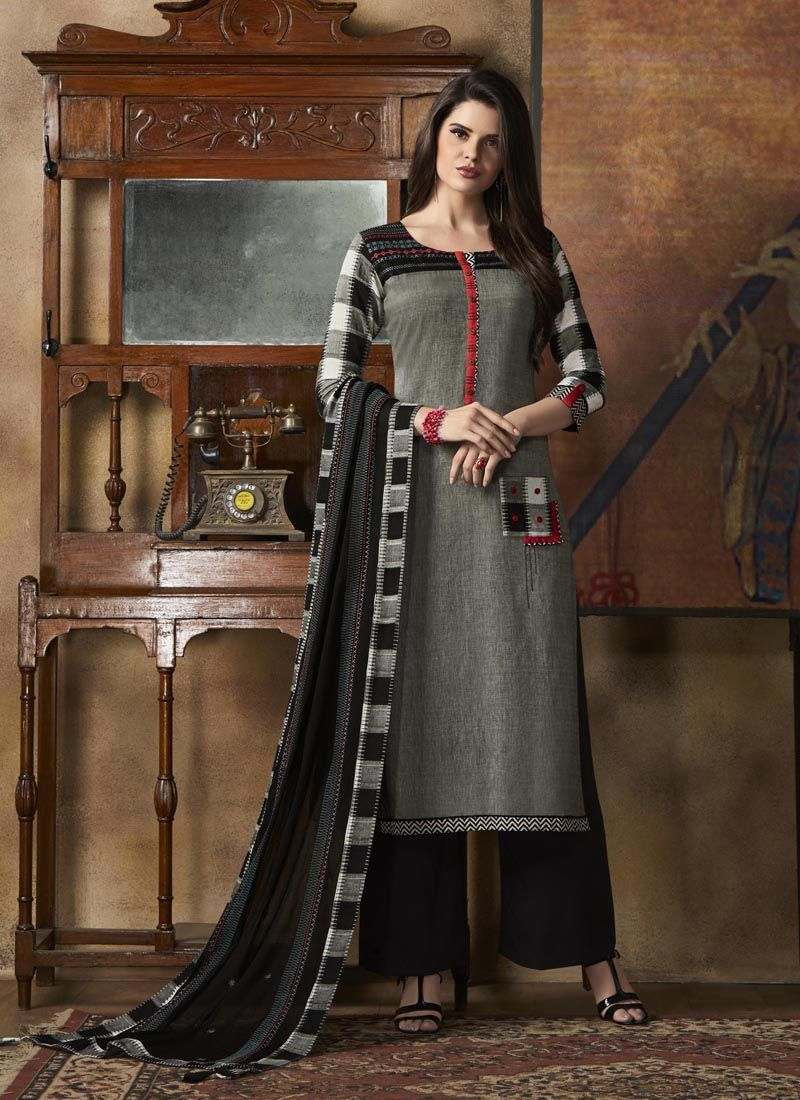 977c81f76c Grey Colored Cotton Ready Made Salwar Suit With Rayon Palazzo  #salwarsuitwithpalazzo #readymadesalwarsuit #palazzoalwarsuit  #blackpalazzosalwarsuit