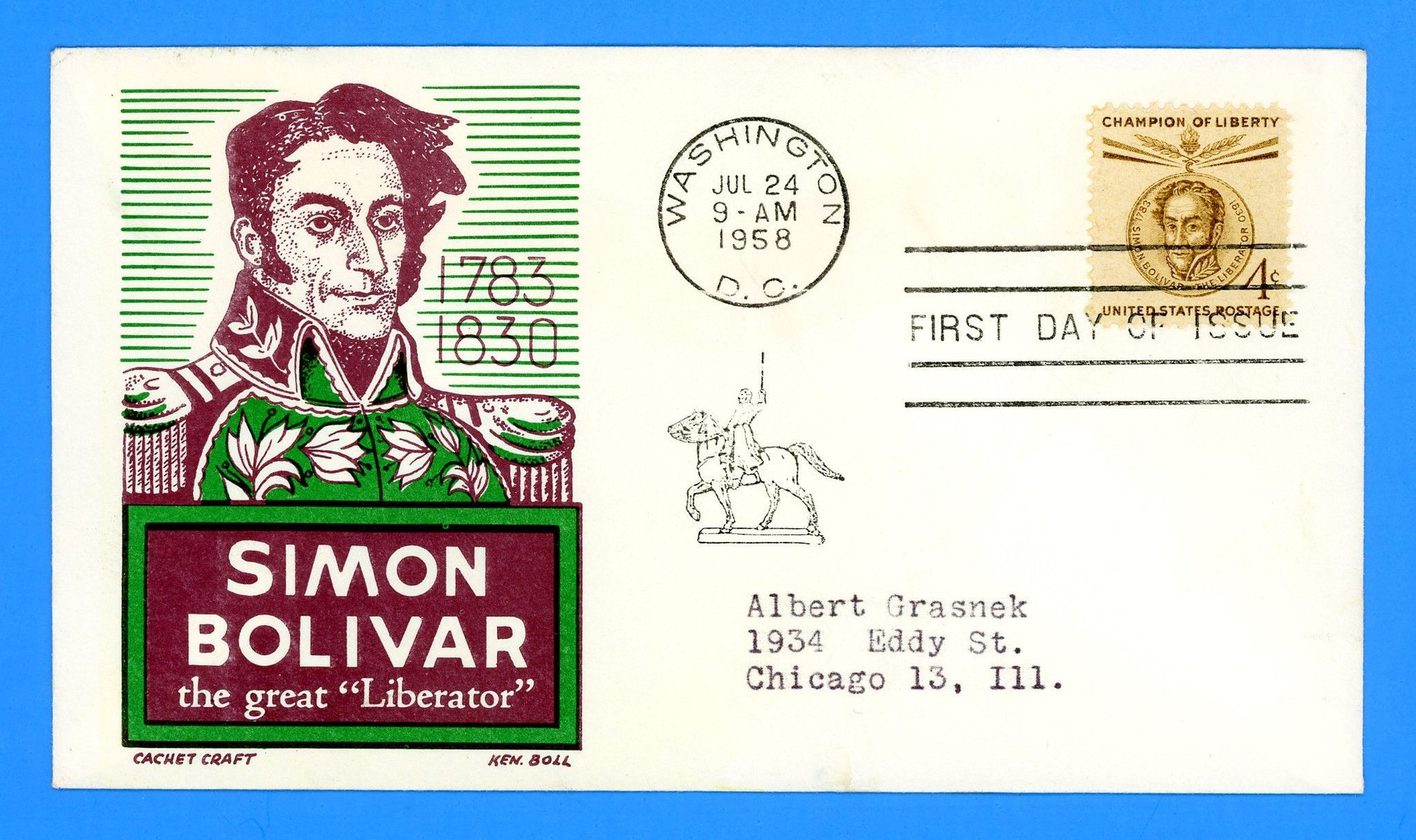Scott 1110-11 Simon Bolivar Set of Two First Day Covers by Cachet Craft/Boll