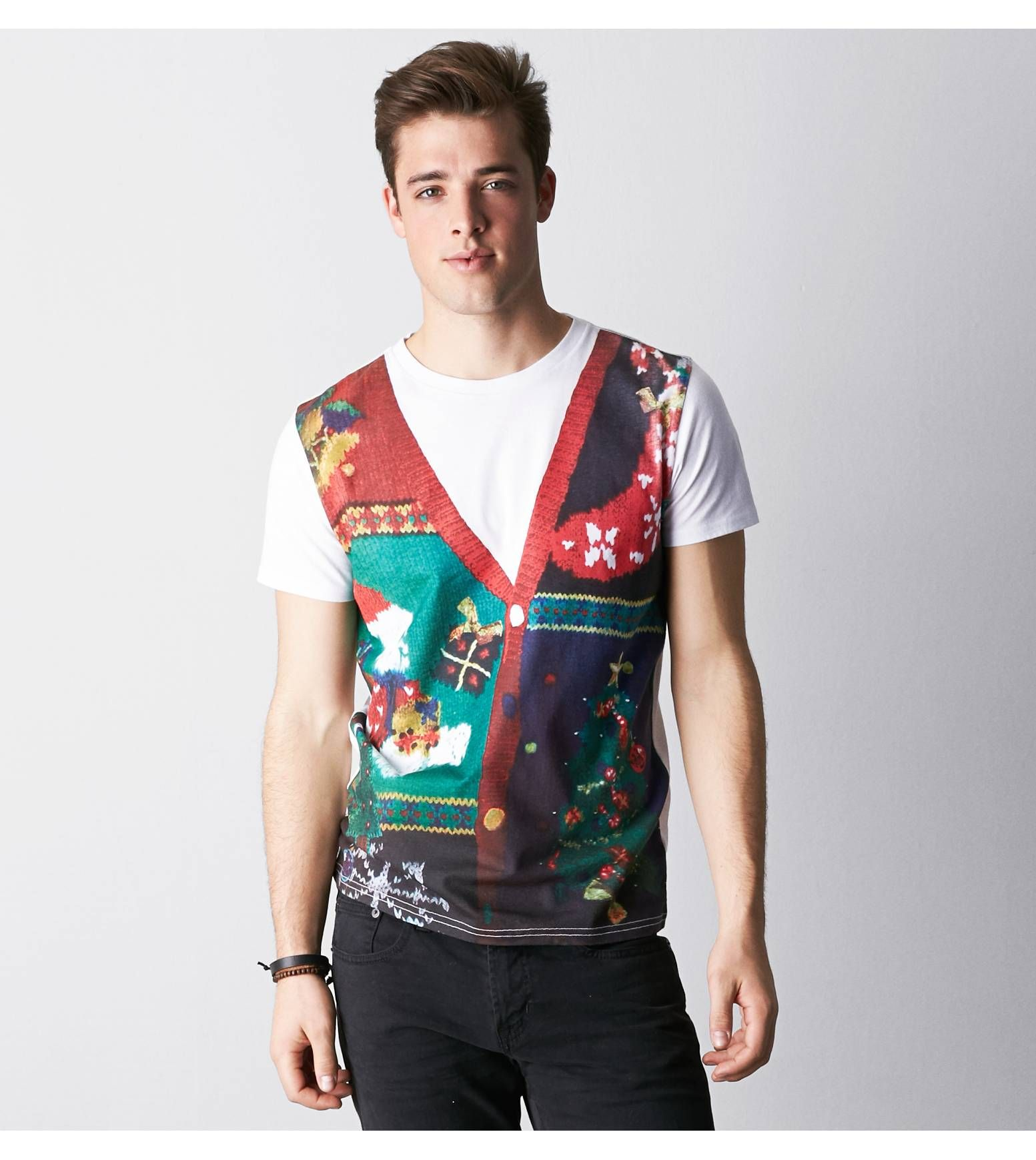 White AEO Holiday Sweater Vest Graphic T-Shirt. Show us your ...