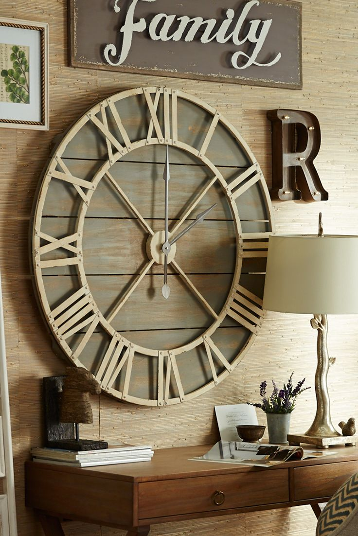 Oversize Gray Rustic Wall Clock Rustic Wall Clocks Clock Decor