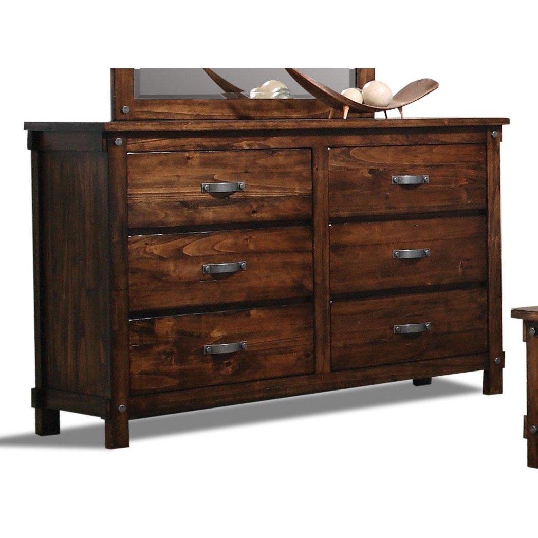 Jessie Rustic Brown 6Drawer Dresser in 2020 Dresser
