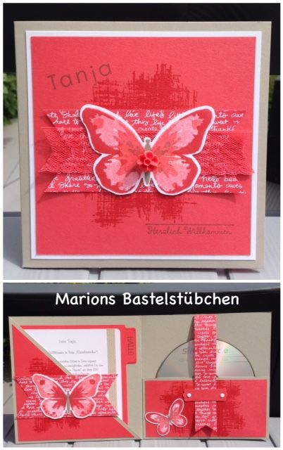 marions bastelst bchen bloghop cd h lle mit schmetterling boxes and gifts tutorials. Black Bedroom Furniture Sets. Home Design Ideas