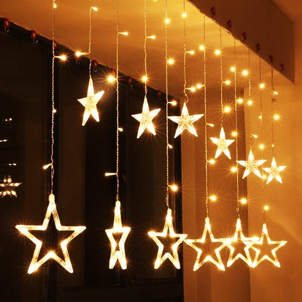 Cheap String Lights Simple Vocoo Star Curtain Lights  8 Kinds Of Blinking Patterns 12 Stars Decorating Design