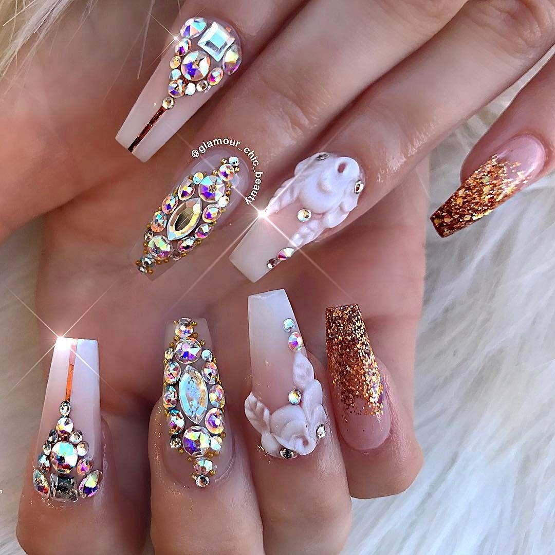 Glitter Acrylic Nail Designs with Rhinestones
