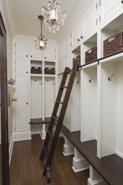 Awesome Mud Room Design With Locker Style Storage System And Sliding Ladder.  Storage Compartments Above Lockers And Open Spaces Under Seat For Shoe  Storage.