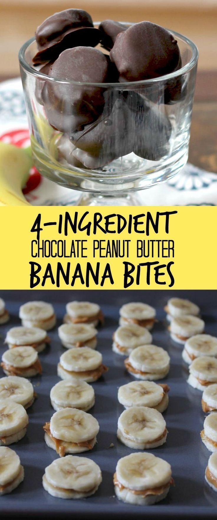 Dark Chocolate Peanut Butter Banana Bites #banana #bites #butter #chocolate #peanut #healthyrecipes