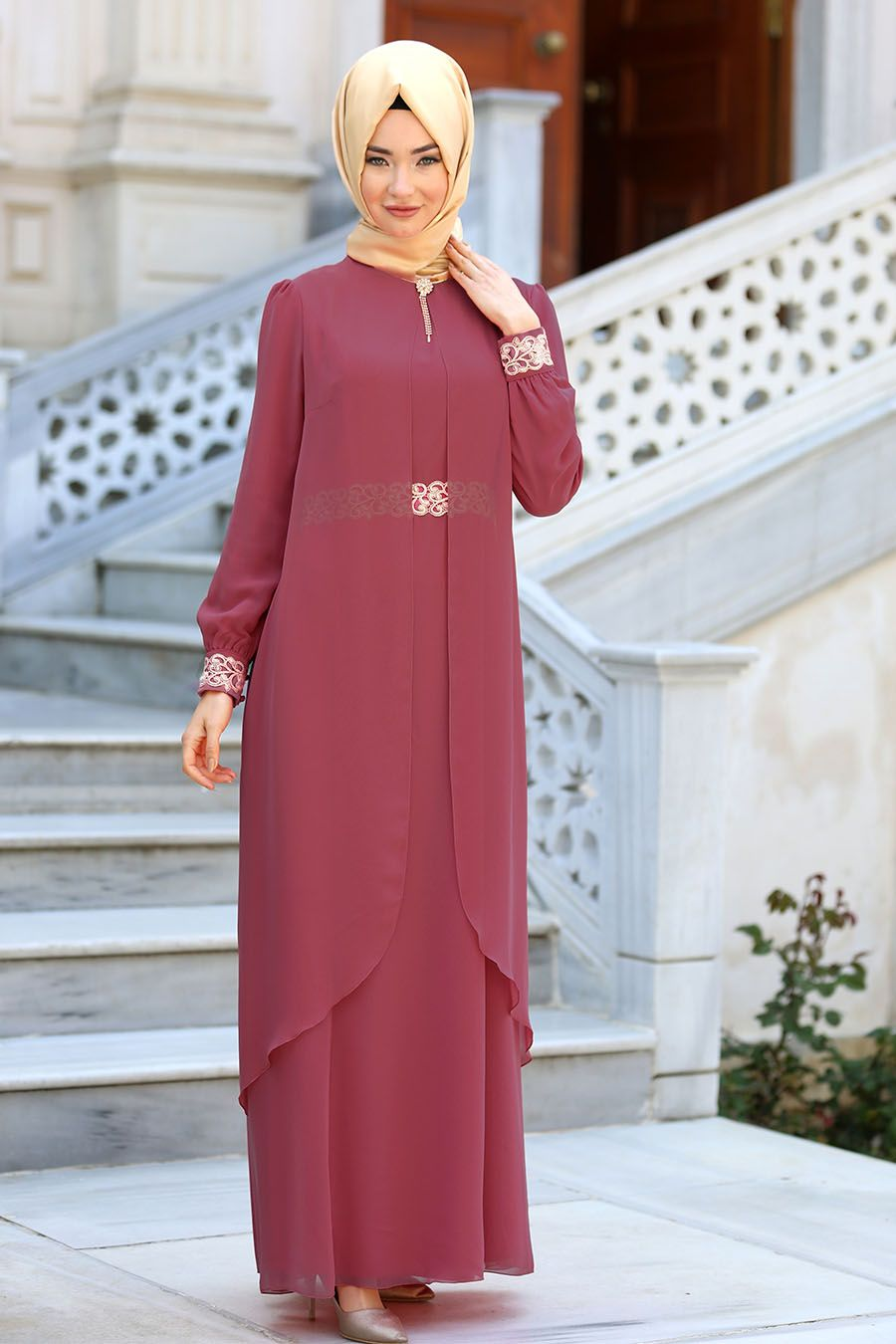 b550a098f5474 NAYLA COLLECTION - Nayla Collection - Dantel Detaylı Tüllü Gül Kurusu Abiye  Elbise 95843GK