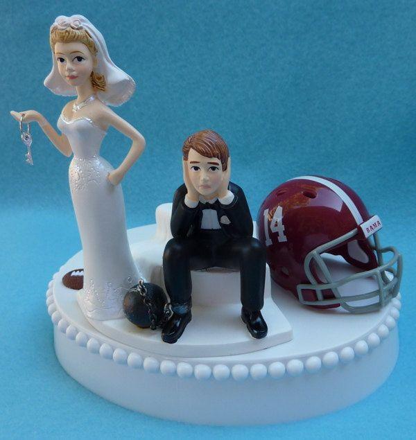 Wedding Cake Topper University Of Alabama Crimson Tide Roll Football Themed Ball And Chain Key W