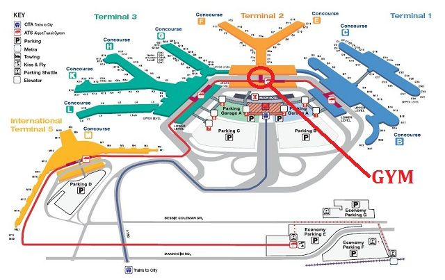 Chicago Airport Terminal Map AA Guide: ORD (Chicago O'Hare   Int'l. Airport) & MCT, etc