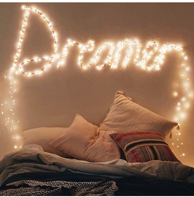 Love The Idea Of Fairy Lights Writing Words Easy To Change Regularly Bed Pillows Dorm Room Decor Dorm Essentials
