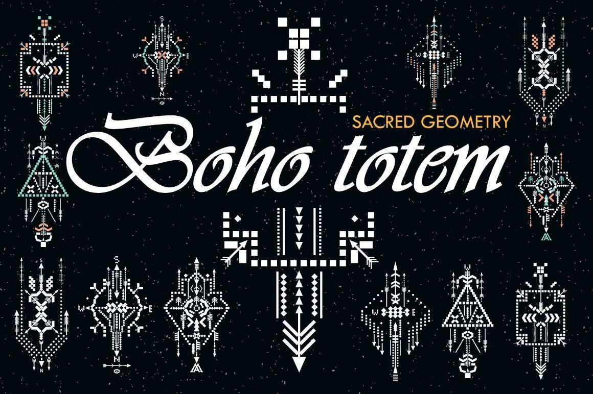 FREE bundle Boho totem  Sacred geometry   Design Bundles