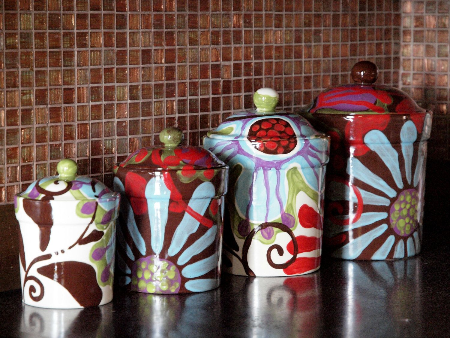 Canister Set Kitchen Canisters Ceramic Pottery Colorful Urban Decor Boho Hippie Uf