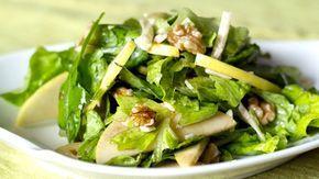Salade de pommes, pois chiches et noix, vinaigrette sans gras à lérable