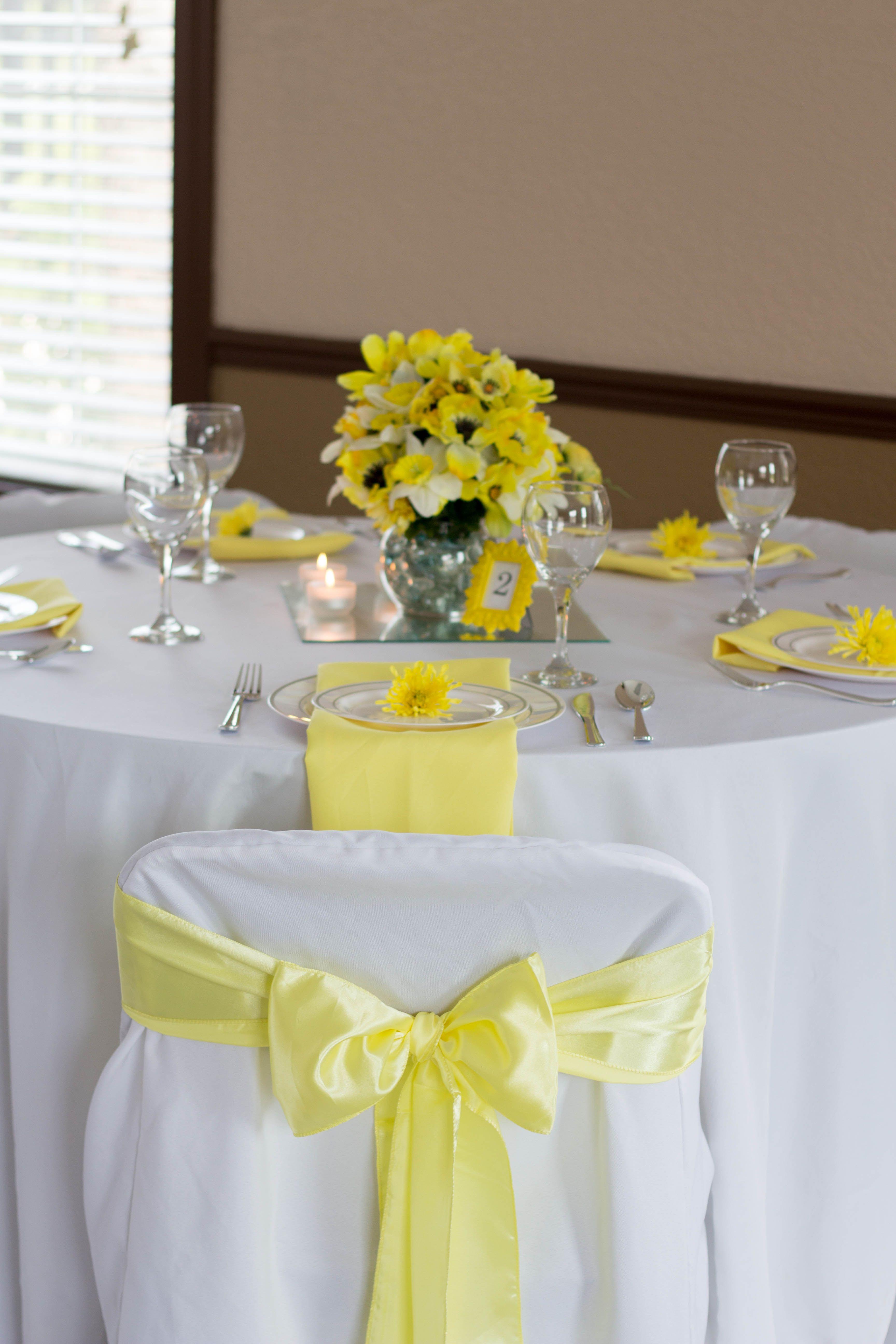 sweet sunshine wedding reception table, yellow, white, gray
