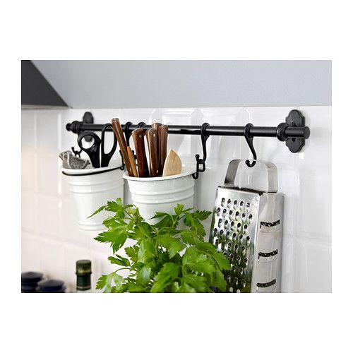 fintorp barre support noir gouttoir ikea et couvert. Black Bedroom Furniture Sets. Home Design Ideas
