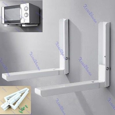 Foldable White Stretch Shelf Rack For Microwave Oven Wall Mount