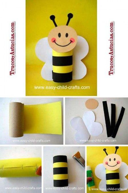 Manualidad infantil para hacer una abeja con el rollo de for Decoracion primavera manualidades