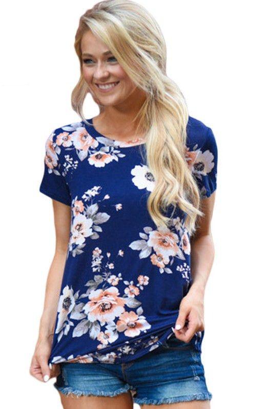 ad338c28a134e T shirt Femme Bleu Royal Manches Courtes Col Rond Imprime Fleur Pas Cher  www.modebuy