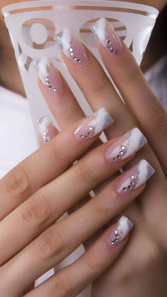 Winter French Manicure Rhinestone Nails Manicure Nail Designs Nail Art Wedding
