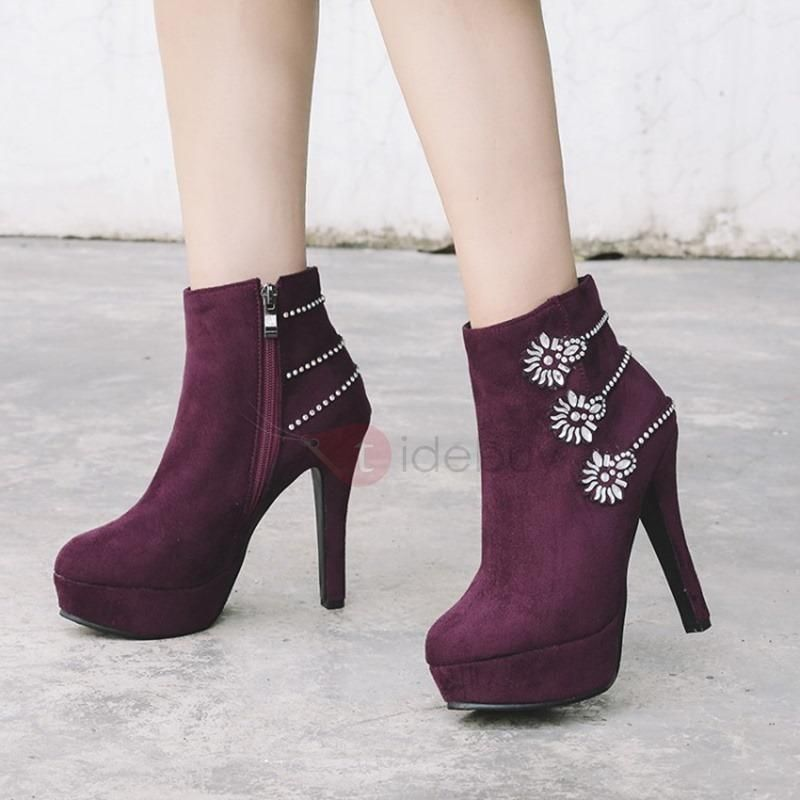 d8ce6ee039af  TideBuy -  TideBuy Faux Suede Side Zipper Rhinestone Chic Ankle Boots -  AdoreWe.