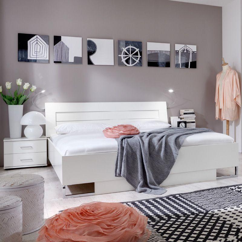 Schlafzimmerset 3-tlg »DAVOS« alpinweiß, Chrom glänzend Jetzt