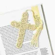 3 Crocheted CROSS BOOKMARKS biege religious crosses book mark Christian bible