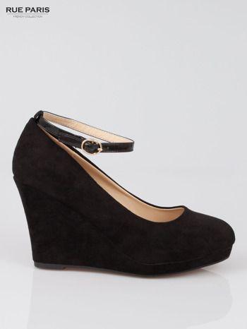 Czarne Zamszowe Koturny Zapinane Wokol Kostki Shoes Trendy Fashion