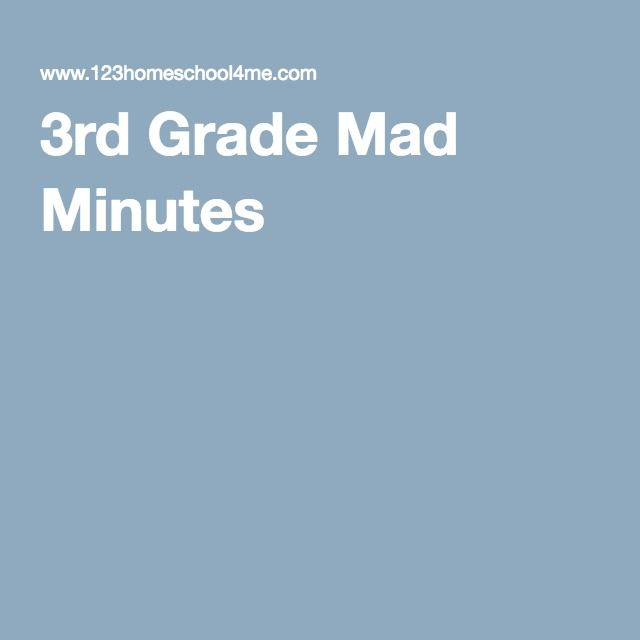 3rd Grade Mad Minutes | Homeschool Resources | Pinterest | Math ...