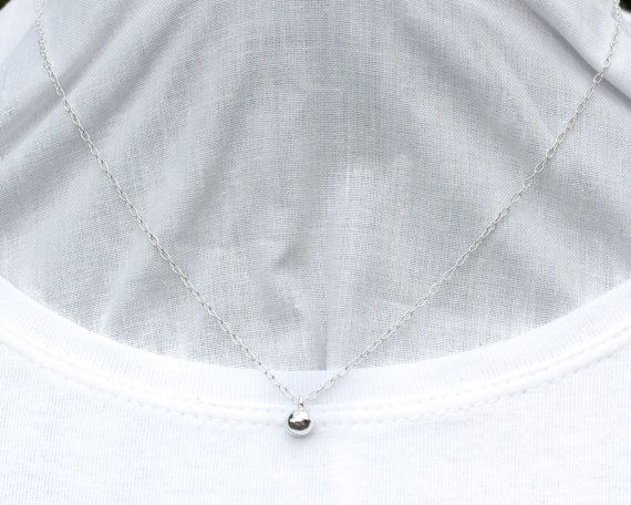 Kitten Day Collar, Discreet Petite Necklace - Sterling Silver - Little Silver Bell - Unisex- Handmade