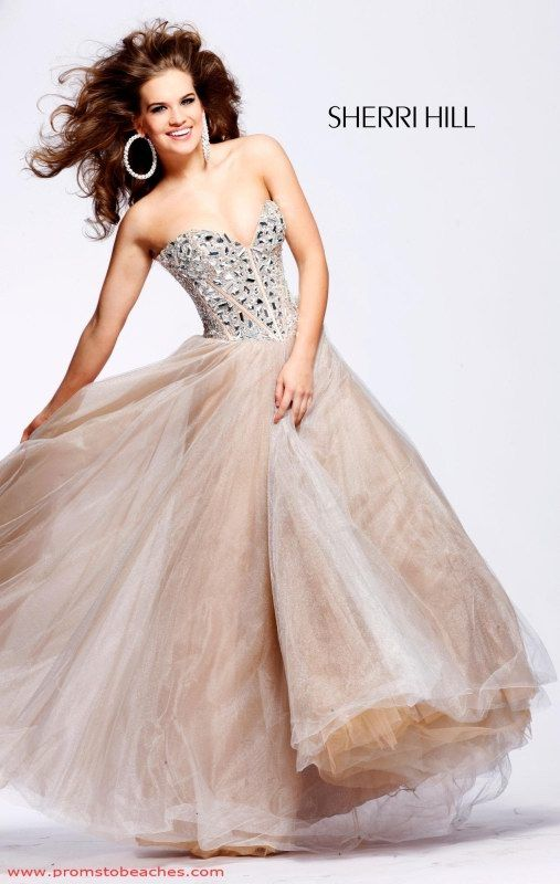 Ball Gown V-neck Champagne 1397 Homecoming Dress With Sequins