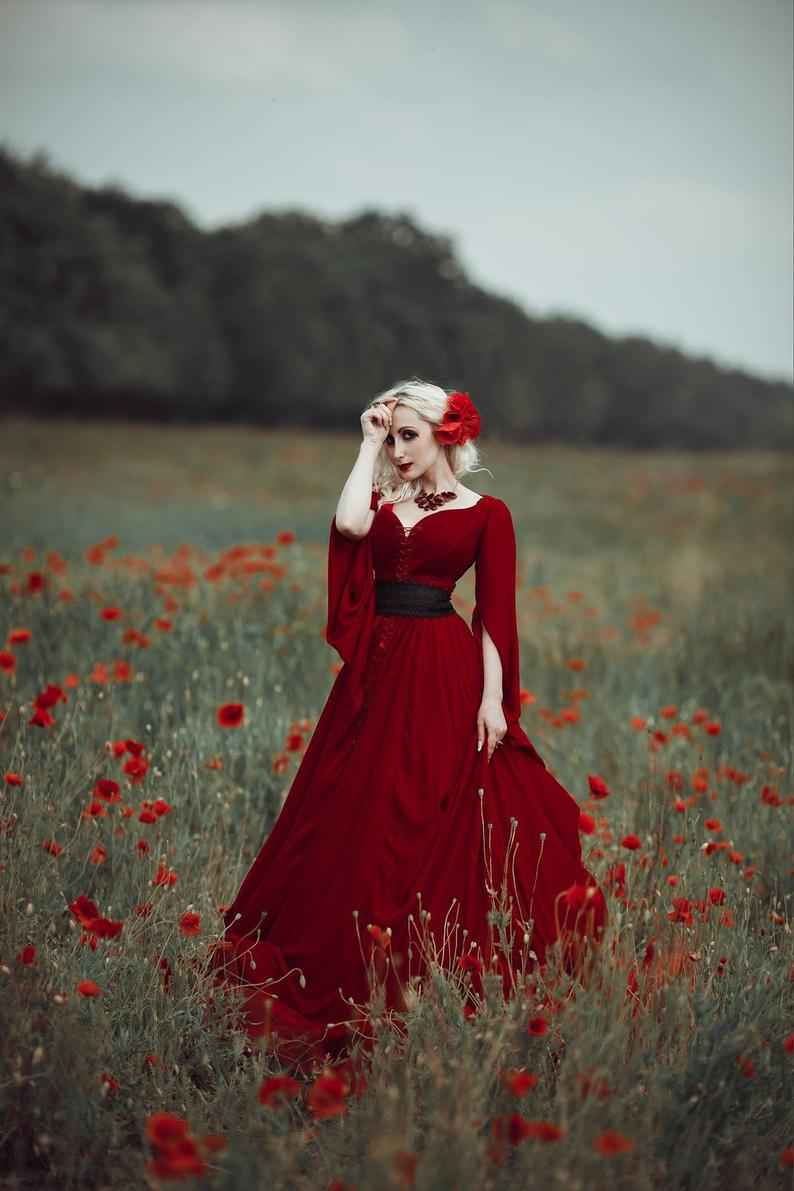 Fantasy red gothic wedding dress with corset for woman