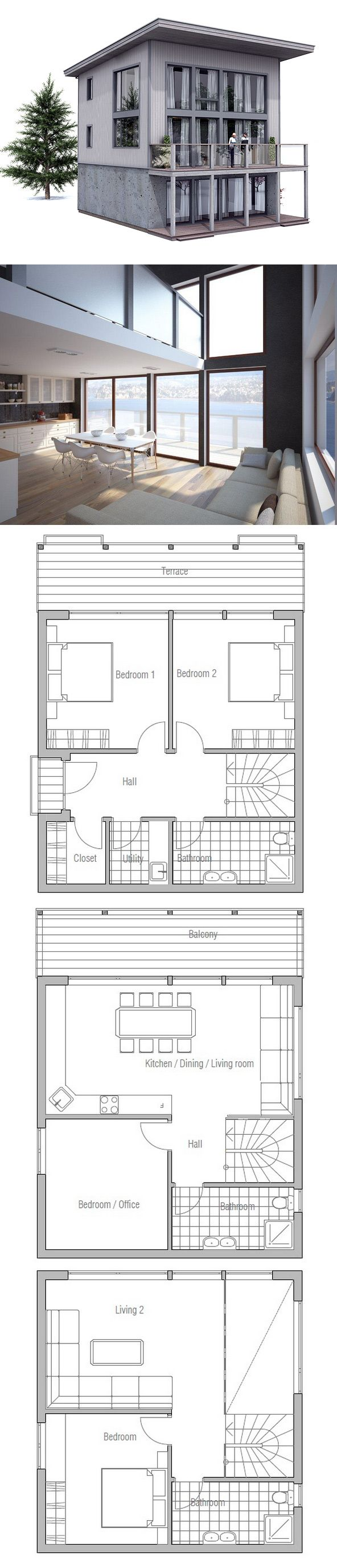Small House Plan - only 2 floors, switch hall block with bedroom block,  second floor as main