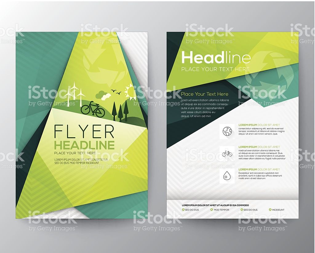 Abstract Triangle Brochure Flyer Design Vector Template In A Size