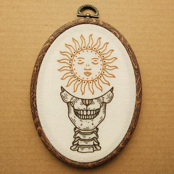 PDF pattern - Sun Skull Hand Embroidery Pattern (PDF modern hand embroidery pattern)